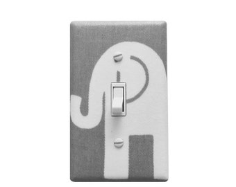 Grey and white light switch plate cover-Elephant Nursery decor-Baby gender Neutral
