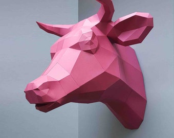 Cattle, Cow, Bull, gift, papercraft, home decoration, paper animals, kit, polygonal, 3D wall decor, trophy