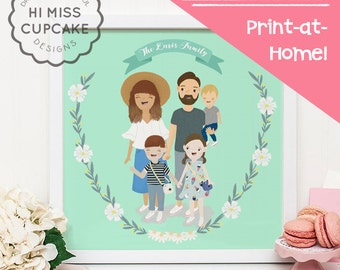 Custom Family Portrait Illustration // Full Body // Hand Illustrated / Wedding Gift / Anniversary Gift / Personalized Gift/ DIGITAL FILE PDF
