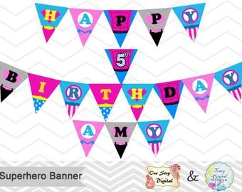 Printable Superhero Banner, Superhero Birthday Party Banner, Instant Download Superhero Bunting Superhero Birthday Party Banner Bunting 0276