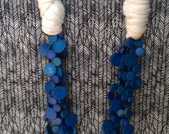 Bright blue wooden bead and t-shirt yarn necklace