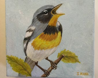"""Meadow Lark painting on canvas in acrylic . The size is 6"""" x 6"""" .The edge is 1 3/4"""" thick . 27.00"""