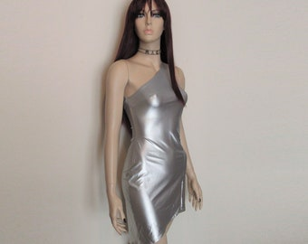 90s Vtg Silver Asymmetrical Cyber Goth Punk Space Side Crossover Strap Mini Dress Size Small