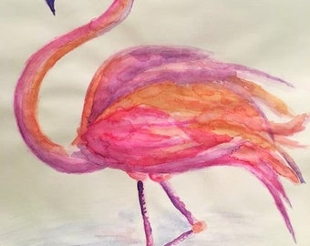 Flamingo in water - print
