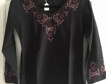 Hand Embroidered Top~Blouse~Tunic -Full Sleeve, V-Neck by Kashmirvalley.com- Sizes Petite/Plus sizes XS to 3X-100% Cotton by Kashmirvalley.