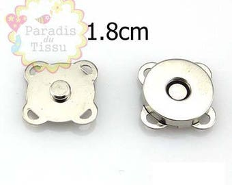 10 x magnetic buttons magnetic metal thimbles silver 1,8 cm