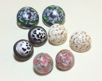 Four pairs of vintage earrings, vintage earring lot, clip earrings, ceramic and glass clip earring lot, craft lot 1950s 1960s E55