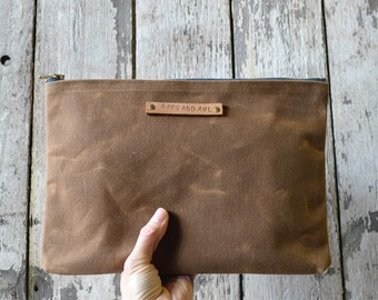 Personalize Groomsmen Gift, Large Waxed Canvas Pouch, Brown Spice, Make Up Bag, Gift for Men, Waxed Canvas Zipper Pouch, Gift for Her, Case