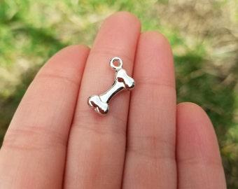 10 PIECES Silver Tone Bone Charm, Dog Bone Charm, Pet Charm, dog charm, dog pendant, bone charm, bone pendant B25105H