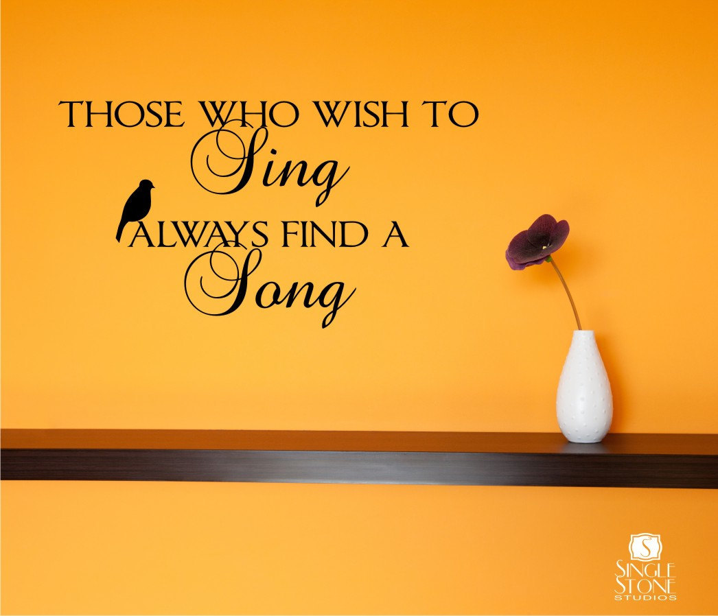 Wall Decals Wish To Sing Music Song Vinyl Text Wall Words