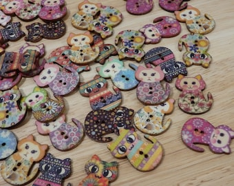 Large Printed Wood Cat Buttons. Mixed Designs. (wooden rainbow sewing scrap book kitten neko cute flower colorful)