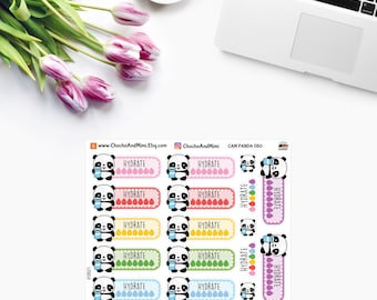 Amanda The Panda ~ HYDRATE ~ Time Planner Stickers CAM Panda 050