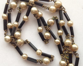Vintage Czech Necklace Czechoslav Black Glass Faux Pearls Czechoslav