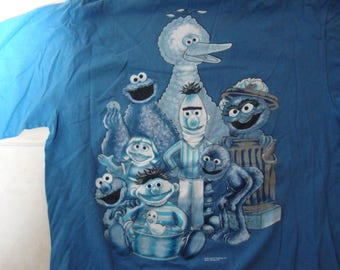 Vintage 90's Sesame Street Sesamewear Show Blue T Shirt Size XL