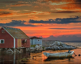 "Peggy's Cove Print, Red Sunset Art Print, Fishing Harbor, Fishing Boat, Halifax, Nova Scotia, Canada, Seascape, Boat Photograph,""Last Light"""