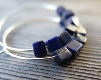 lapis lazuli jewelry. blue earrings. sterling silver hoop earings.