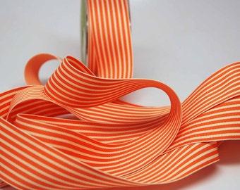 BULK Striped Grosgrain Ribbon 15 yards -- 1.5 inches -- Orange Cream