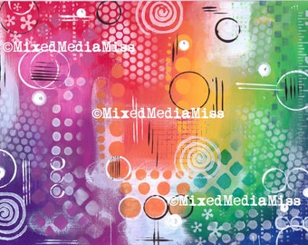 Art Journal Background - Mixed Media digital download - Rainbow