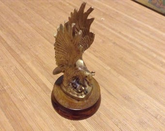 Brass Eagle on Wooden Stand