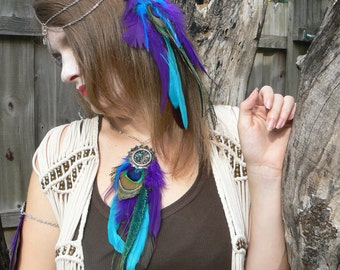 peacock necklace festival feather dreamcatcher necklace statement necklace in tribal inspired tribal fusion  boho belly dancer