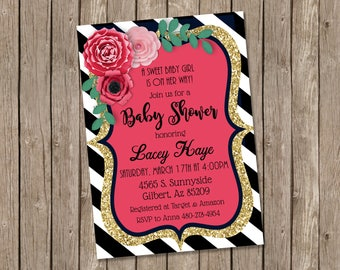 Floral Kate baby shower invitation, Paper Flower shower invitation, Kate baby shower invitation, black and white stripe Spade baby shower
