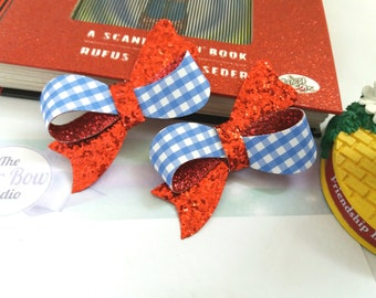 Wizard of Oz, Dorothy Hair Bows, Bobble, Ruby Red, Glitter, Gingham, Blue, White,Hair Accessory, Fancy Dress, Uk