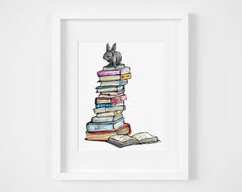 tip top bunny balanced on books watercolor illustration art print | book lover bookworm baby decoration