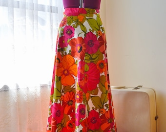70s cotton bright orange pink floral maxi skirt