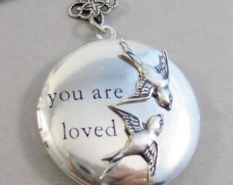 You Are Loved,Sparrow Necklace,Sparrow,Bird,Bird Necklace,Art Locket,I love you,Antique Locket,Nature,Woodland,Love You,Bird Locket,Bird