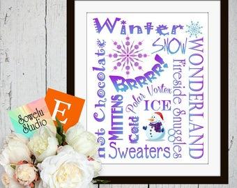 Wall Art Printable Instant Download, Winter Wonderland Subway Art Printable, Wall Decor
