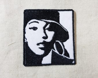 Punk Girl Youths Black and White Ver. Embroidered Patch 2.5 x 2.8 inch (6.4 x 7 cm)