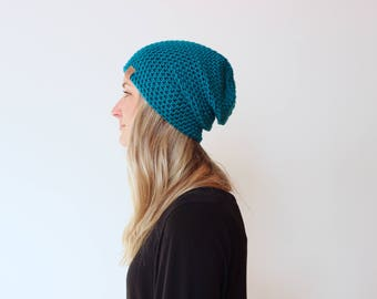 NEW Sapphire - ACRYLIC Soft Light Weight Wool Slouchy Beanie