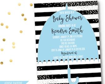 Umbrella baby shower invitation, Printable baby SPRINKLE Invitation, SILVER confetti baby sprinkle shower invitation, black and white stripe