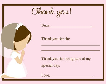 First Communion Thank You Card  - Digital file - You print / 1st Communion Thank You Card