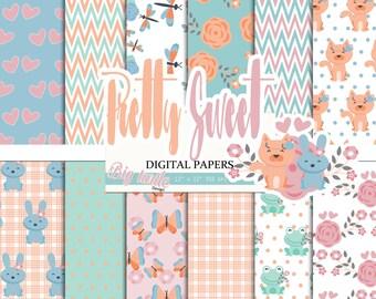 60% OFF SALE! Pretty digital paper pack, Spring digital paper, Spring pattern, Wedding pattern,Scrapbook Paper, Printable Background, 12 JPG