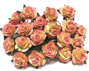 Pink And Cream Open Mulberry Paper Roses Or020
