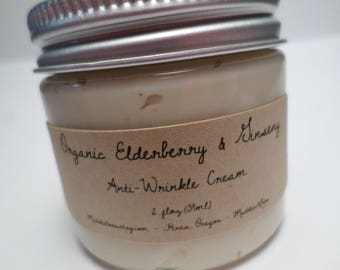 FREE SHIPPING-ORGANIC/Vegan Elderberry & Ginseng Anti-Wrinkle Cream-firming, collagen boosting,flavonoids-2 oz.