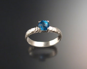 Blue Topaz Wedding ring Sterling Silver, made to order in your size