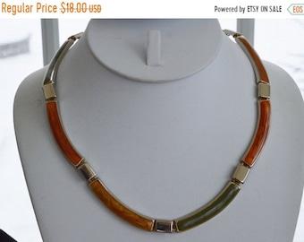 """On sale Pretty Vintage Gold, Green, Rust Enamel Link Necklace, Autumn Colors, Earthen Colors, 18"""""""