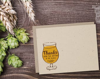 Thank You Flat Notecard – Pick 1 or Set of 8; Beer Cards, Thank You Cards, Custom Greeting, Beer Lover, Beer Glass, Blank Cards