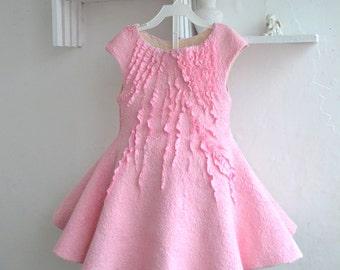 Pink girls dress Nuno felted dress Princess dress Pink dress for girl Nuno felt clothing Nunofelt girls dress Bridesmaid dress Elegant dress