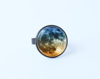 Outer space ring Moon jewelry Full moon ring Ladies ring Moon gift Solar system ring Galaxy Cosmos jewelry Wife gift Planetarium jewelry