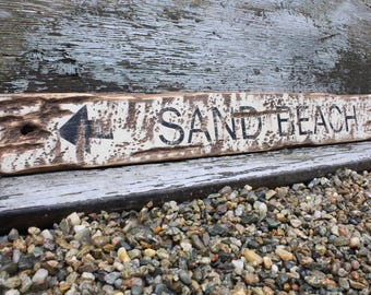 Sand Beach Sign Nautical Sign Beach Decor Rustic Weathered Nautical Decor Bar Harbor Maine Acadia
