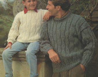 Family Aran Sweater PDF Knitting Pattern : Mens, Womens & Childrens 26, 28, 30, 32, 34, 36 - 38, 40 and 42 - 44 inch chest . Aran Jumper
