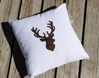 Deer Silhouette Pillow Cover for Cabin or Cottage,Decorator Pillow Cover,Home Decor,Cabin Decor,Cushions,Cushion