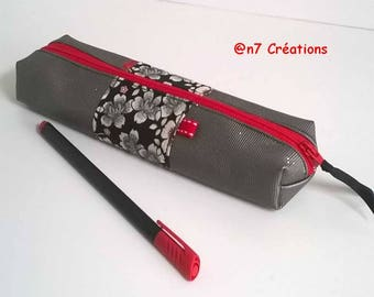 Pencil case grey sequined silver and red.