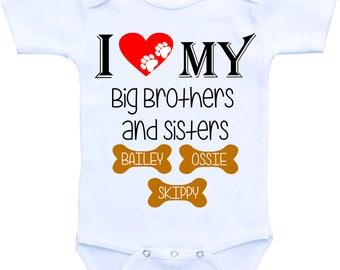 I love my big brothers big sisters Dog onesie dog big brother dog shirt big sisters shirt for dog big sister dog lover shirt dog lover gift