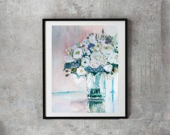 Wedding bouquet painting, Wedding bouquet illustration, Custom Bridal Bouquet Original, paper Anniversary, wedding portrait, bride flowers