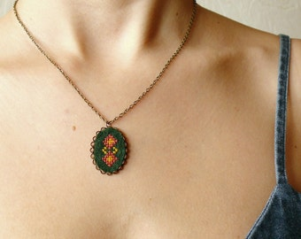 Cross stitch necklace - inspired by Ukrainian ethnic embroidery n041