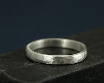 Perfect Hammered 2.5mm Band--Women's Silver Wedding Ring--Wedding Band--Simple and Unique--Solid Sterling Silver Hammered Band-Rustic Band